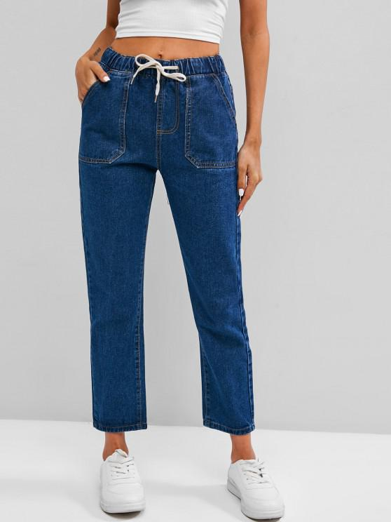 Drawstring Pocket Stovepipe Jeans - أزرق M