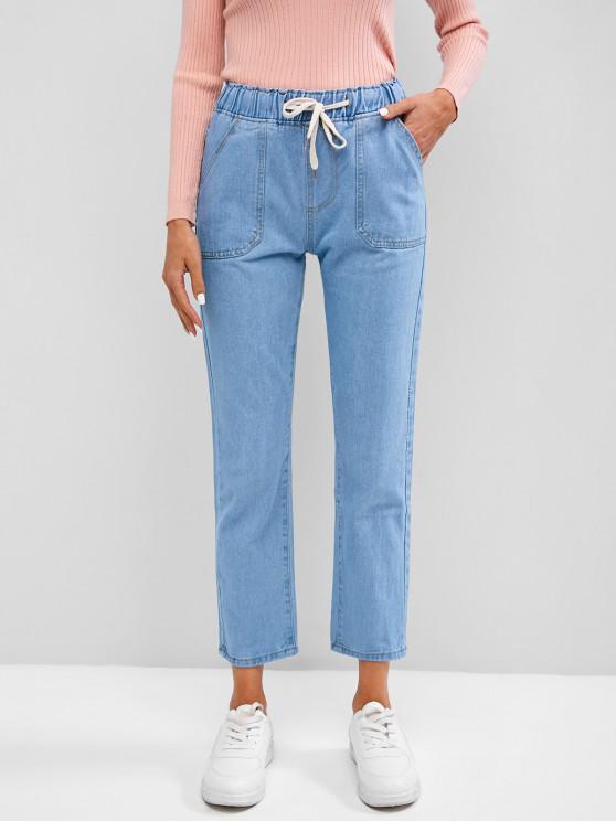 Pantalones Jeans Cordones y Bolsillos - Azul claro L