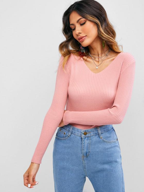 Solid Color V Neck Ribbed Knitwear - وردي فاتح حجم واحد