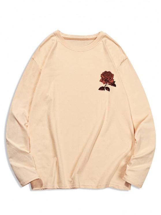 Long Sleeve Rose Flower Print Casual T-shirt - شامبانيا L