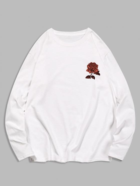 Long Sleeve Rose Flower Print Casual T-shirt - حليب ابيض M