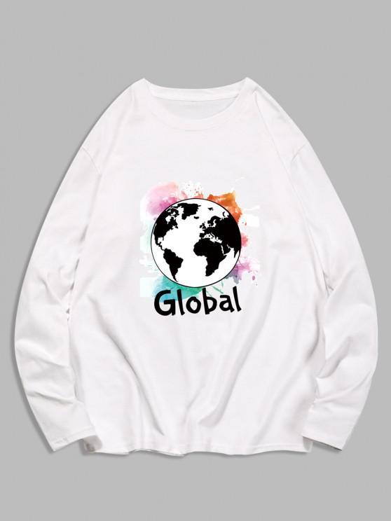 Global Graphic Print Long Sleeve T-shirt - حليب ابيض 2XL