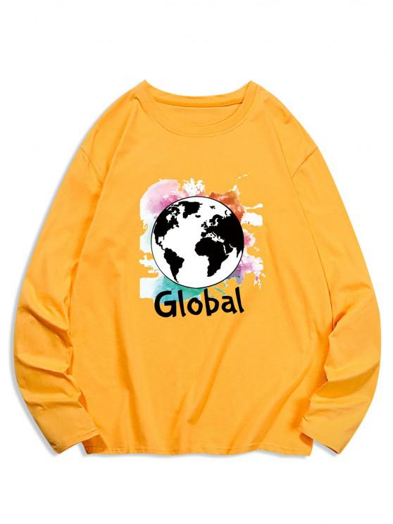 Global Graphic Print Long Sleeve T-shirt - الأصفر 2XL