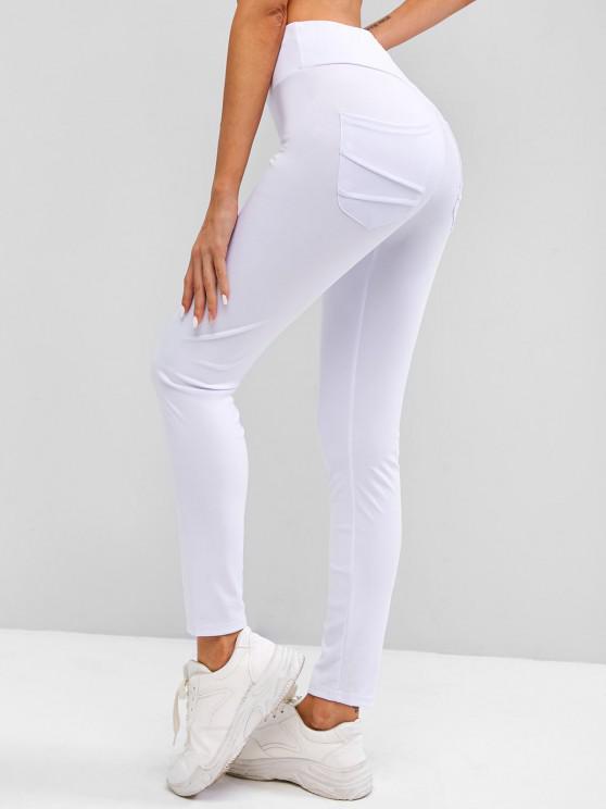Scrunch Bum Lifted Pocket Wide Waistband Leggings - أبيض S
