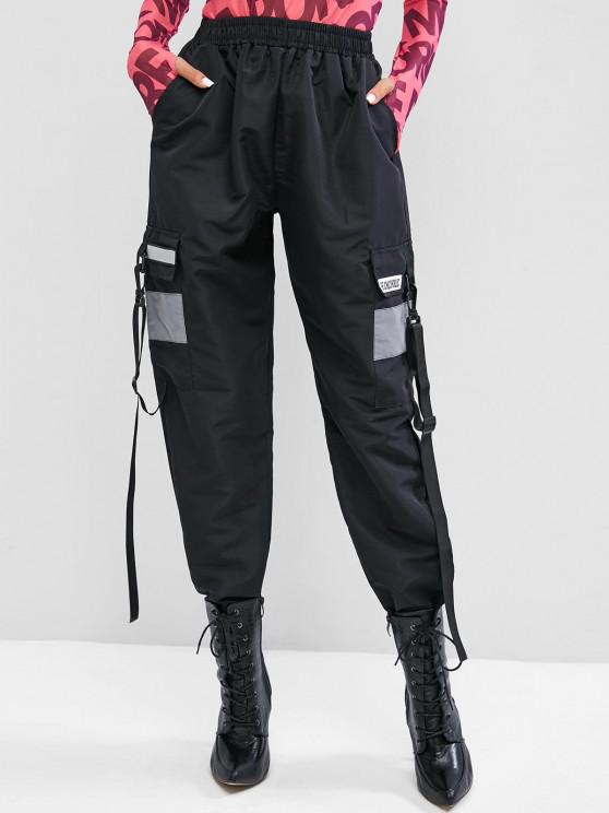 buy Grunge Graphic Snap Hook Buckle Straps Cargo Pants - BLACK L