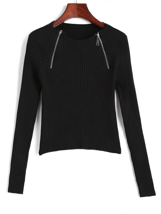 hot Wide Rib Half Zip Fitted Knitwear - BLACK ONE SIZE