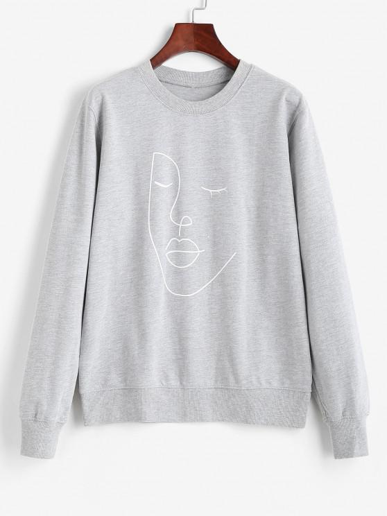 Face Sketch Print Graphic Sweatshirt - Dark Gray L | ZAFUL