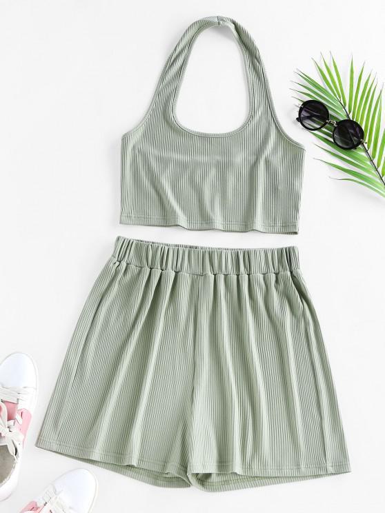shop ZAFUL Lounge Ribbed Halter High Waisted Shorts Set - LIGHT GREEN L