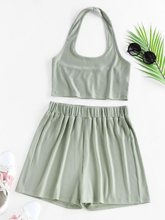 affordable ZAFUL Lounge Ribbed Halter High Waisted Shorts Set - LIGHT GREEN M
