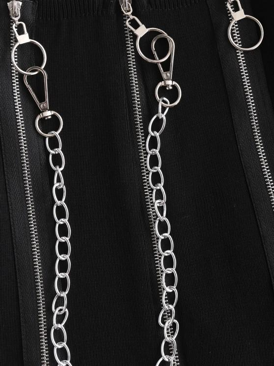 Chain Pull Ring Zippers Cropped Knitwear - Black | ZAFUL