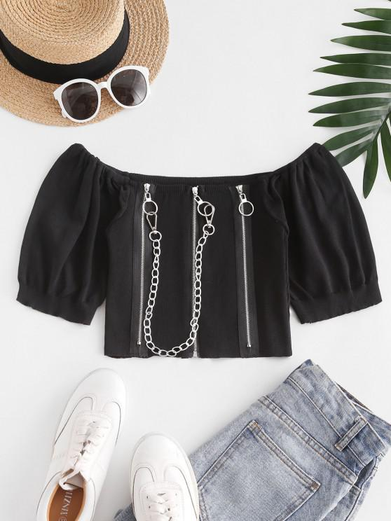 fancy Chain Pull Ring Zippers Cropped Knitwear - BLACK ONE SIZE