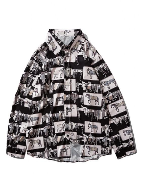 shop Horse Print Button Up Casual Shirt - BLACK M