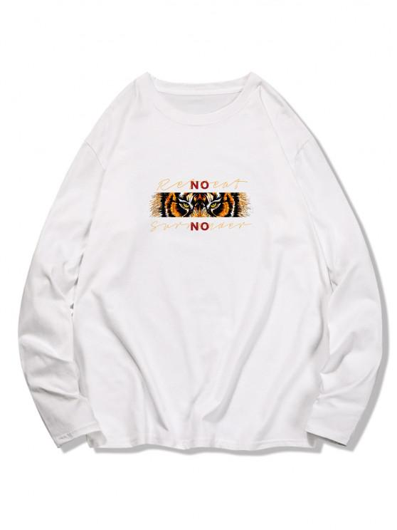 Graphic Animal Print Long Sleeve T-shirt - حليب ابيض 2XL