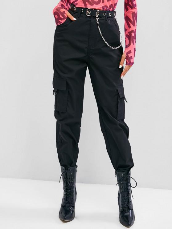 women's Flap Pocket Beam Feet O-ring Cargo Pants - BLACK L