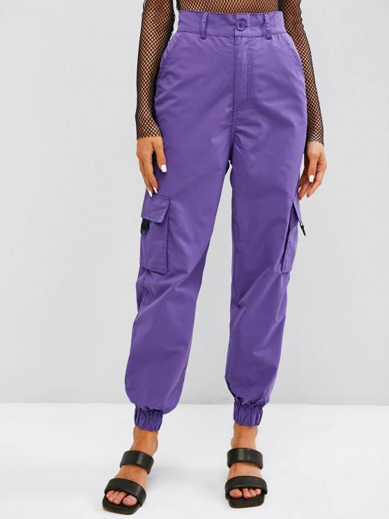 Pantalones de Carga Cruzado de Bolsillo con Solapa - Arbusto Púrpura M