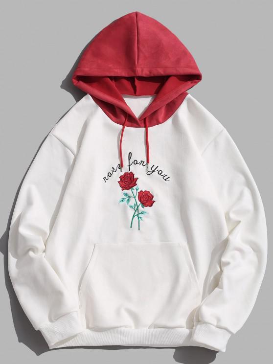Bloco de Cores Carta Rosa Flor Moletom - Branco L