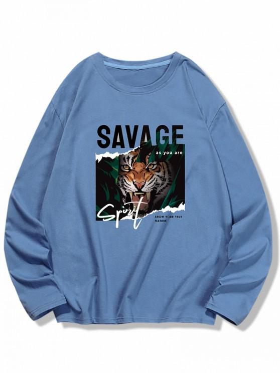 T-shirt Tigre et LettreImprimésà Manches Longues - Bleu de Soie 2XL