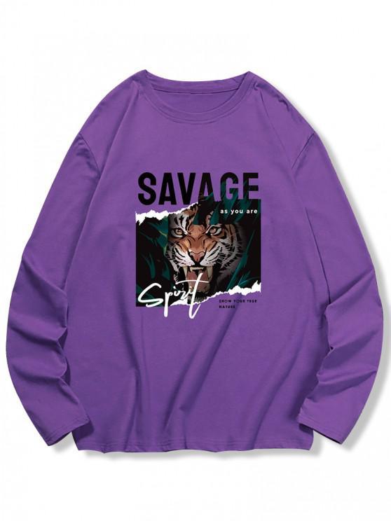 Letter Tiger Print Long Sleeve T-shirt - الأرجواني القزحية 2XL