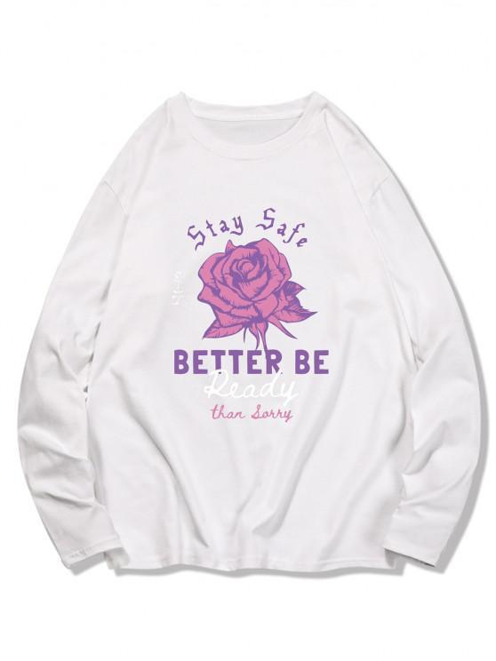T-shirt Graphique Fleur Imprimée à Manches Longues - Blanc Lait 2XL