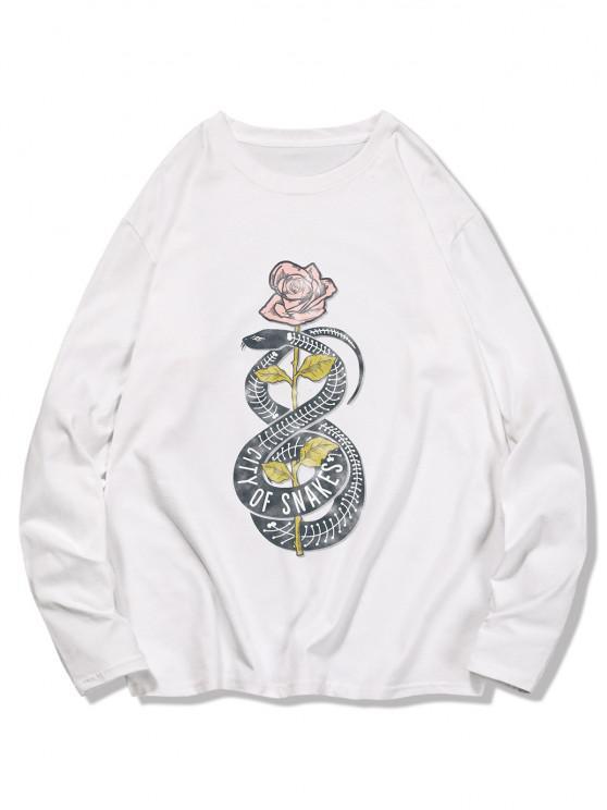 Snake Flower Print Long Sleeve T-shirt - حليب ابيض XL