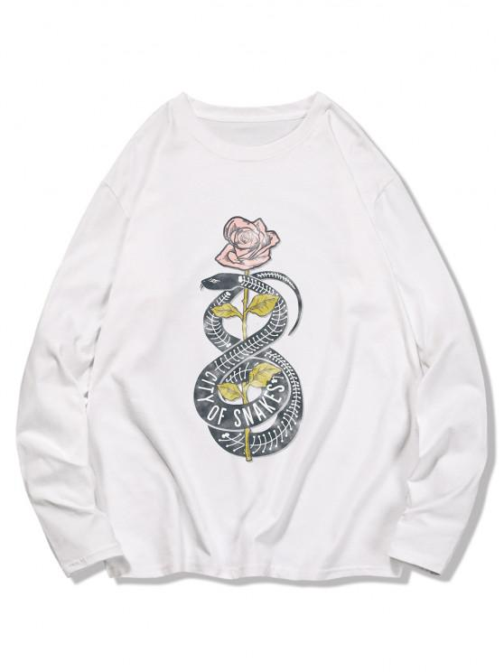 women's Snake Flower Print Long Sleeve T-shirt - MILK WHITE 2XL