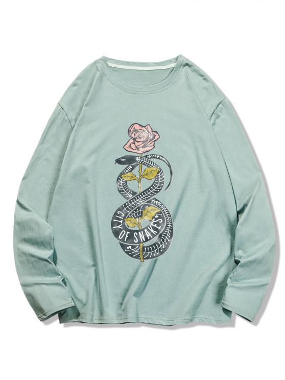 Snake Flower Print Long Sleeve T-shirt - اخضر فاتح XL
