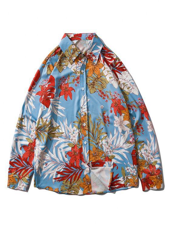 women Wild Flower Leaf Print Long Sleeve Casual Shirt - LIGHT SKY BLUE 2XL