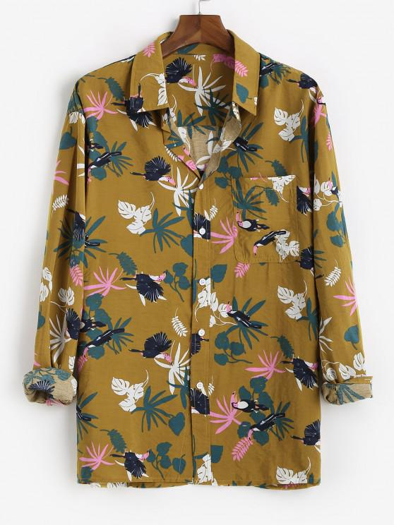hot Tropical Leaf Parrot Print Vacation Shirt - BEE YELLOW XL