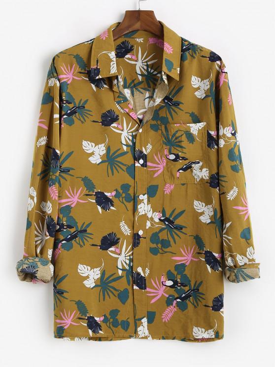 Tropical Leaf Parrot Print Vacation Shirt - نحلة صفراء XS