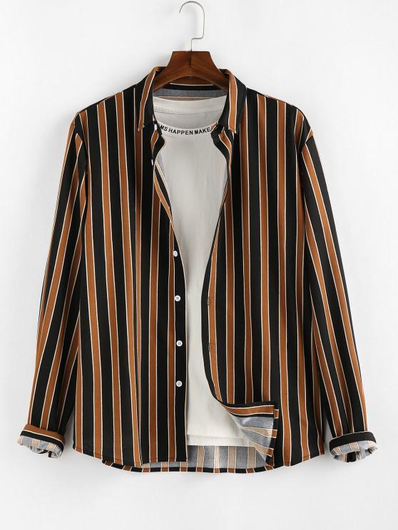 online ZAFUL Colorblock Stripes Long Sleeve Shirt - DEEP COFFEE 2XL