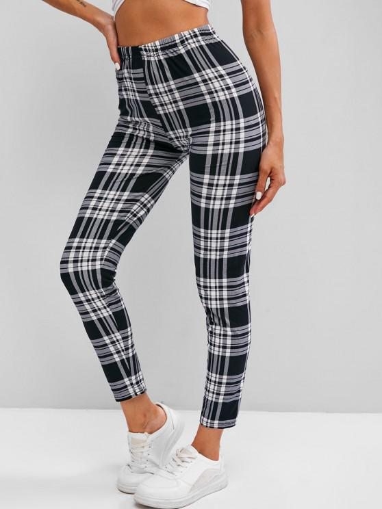 outfit Plaid High Waisted Skinny Leggings - WHITE ONE SIZE