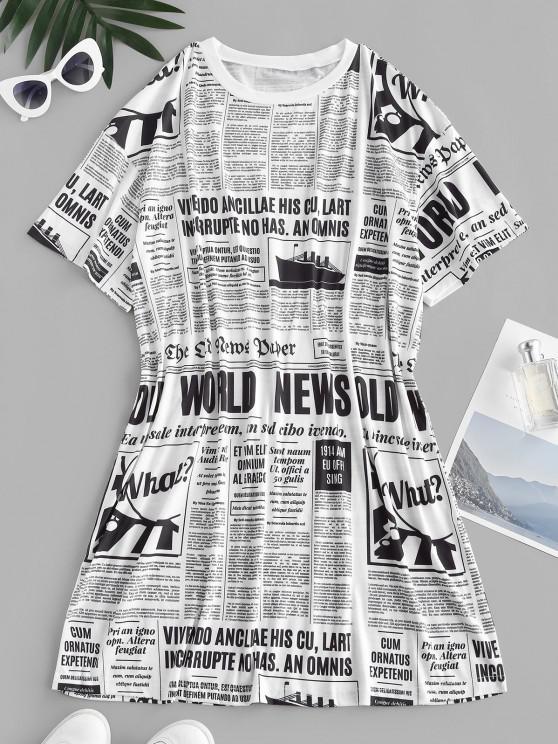 women Newspaper Print Oversized Longline T-shirt - WHITE M
