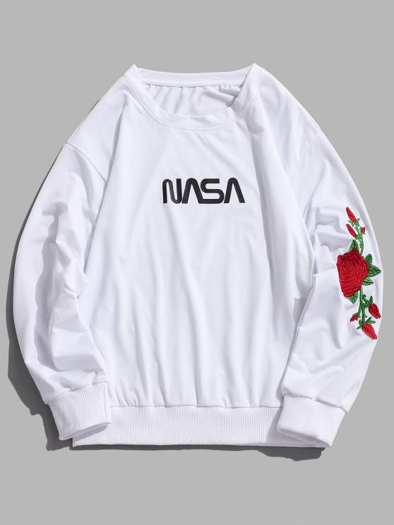 fancy Rose Embroidered Letter Sweatshirt - WHITE 2XL