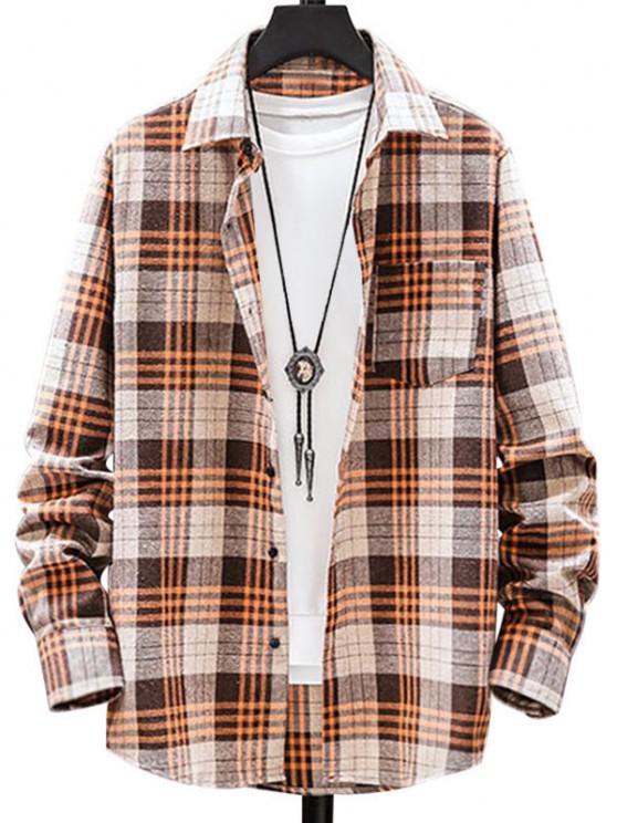 Plaid Pattern Pocket Patch Long Sleeve Shirt - نحلة صفراء 2XL