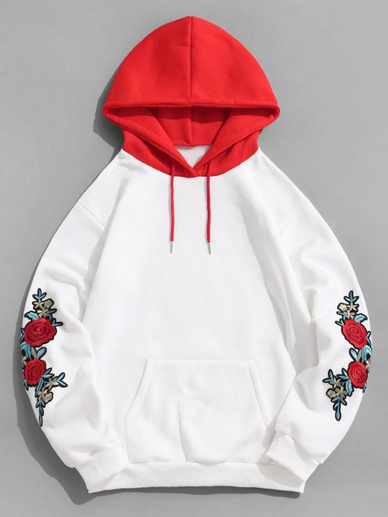 women Rose Embroidery Color Blocking Fleece Hoodie - WHITE XL