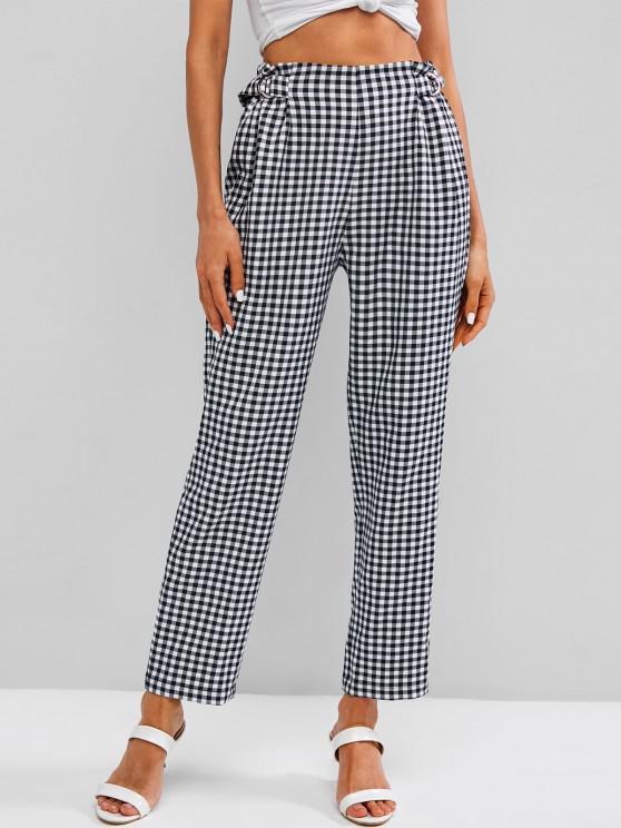 fashion ZAFUL Checked D Ring Pants - BLACK M