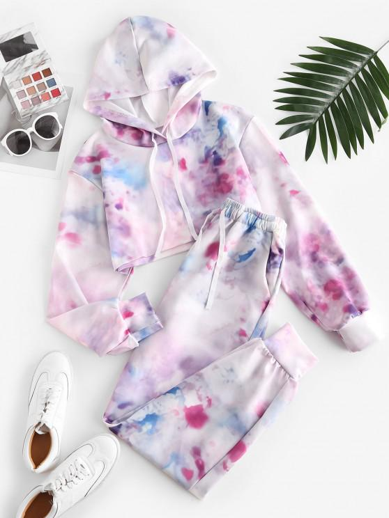 ladies Sweat Tie Dye Cropped Hooded Tracksuit - LIGHT PINK L