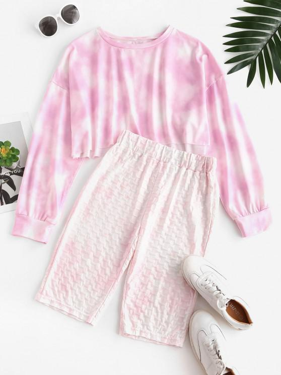 Cycling Tie Dye Honeycomb Two Piece Shorts Set - وردي فاتح S