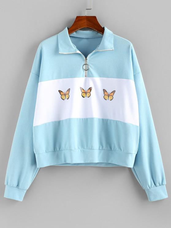 ZAFUL Zip Front Butterfly Print Colorblock Sweatshirt - أزرق فاتح S