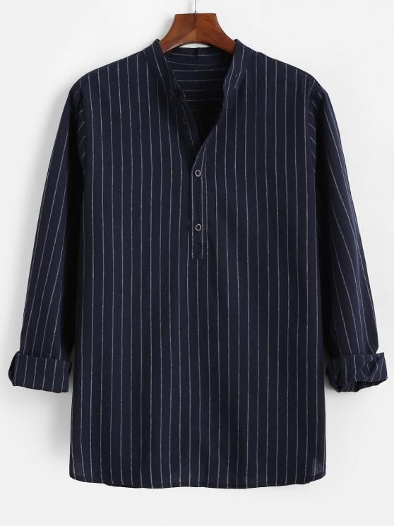 shop Stripes Pattern Half Button Long Sleeve Shirt - DEEP BLUE 2XL