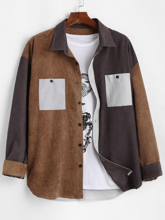 chic Colorblock Panel Pocket Patch Ribbed Long Sleeve Shirt - DEEP YELLOW XL