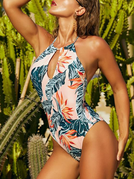 shops ZAFUL Tropical Print Halter Backless Keyhole One-piece Swimsuit - LIGHT ORANGE L