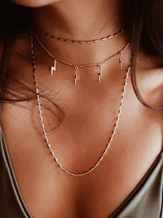 fashion Layered Lightning Pendant Necklace - GOLDEN