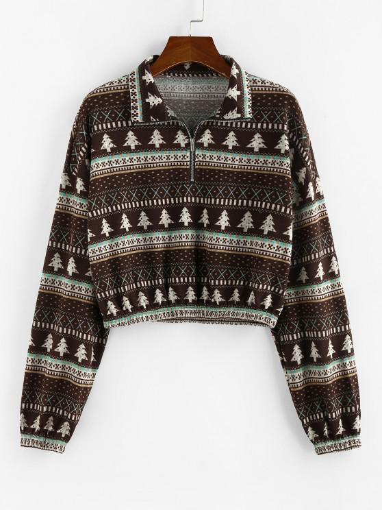 ZAFUL Half Zip Drop Shoulder Tree Print Sweatshirt - متعددة-A M