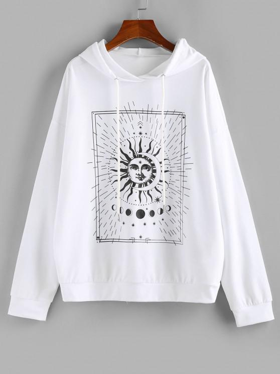 ZAFUL Sun and Moon Phase Print Pullover Hoodie - أبيض XL