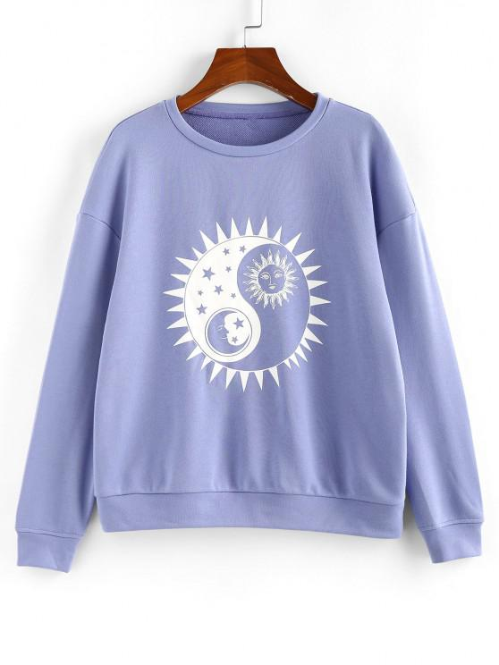 ZAFUL Chinoiserie Sun and Moon Print Sweatshirt - ردة الذرة الأزرق M