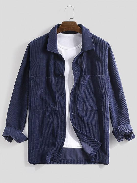 shops Long Sleeve Double Pockets Corduroy Shirt - DEEP BLUE 2XL