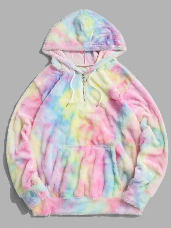 shop Tie Dye Faux Fur Ring Half Zipper Hoodie - MULTI 2XL
