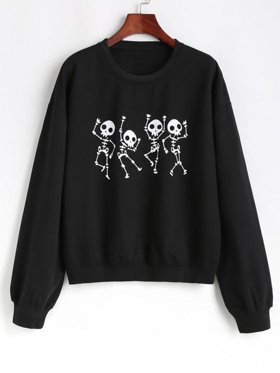 Picătură Umăr craniu de Halloween Sweatshirt - Negru XL