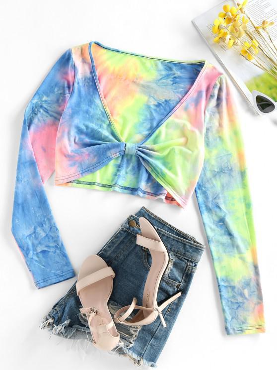 women ZAFUL Tie Dye Plunge Knot Crop Tee - MULTI-A S